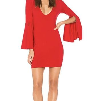 Flared sleeve with slit opening dress