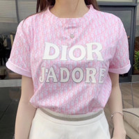 Dior Women Letter Print Short Sleeve Top