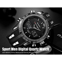 Luxury Brand Watches Men Sports Watch Waterproof LED Red or Black Digital Quartz Men Military Wrist Watch Clock FREE SHIPPING