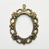 Brass Ox Oval Prong Cameo Setting Cabochon Pendant 25mm x 18mm - 1 pc.
