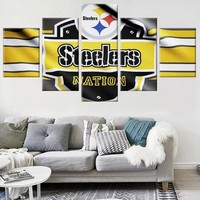5 Panels Pittsburgh Steelers Modern Decorative Picture Wall Pictures for Living Room Wall Pictures Painting On Canvas