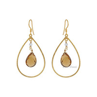 Champagne Quartz Long Pear 10mm x 15mm Micron Gold Plated 925 Sterling Silver Hoop Earring - #1572