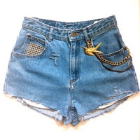 Peace Love Sparkle LUXE High Waisted Vintage Cut-Off Hottie Short - Limited Design ..Gold Plated Chains & Bling