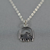 Lovely Caged Song Bird Necklace Shiny 925 sterling silver