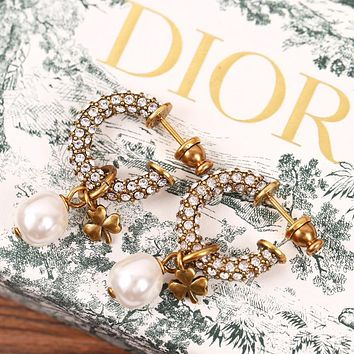 Dior Fashion new diamond round pearl long earring Golden