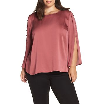 Womens Plus Size Button Bell Sleeve Blouse VINCE CAMUTO Size 2X.