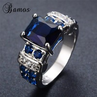 Bamos New Fashion Blue Cubic Zirconia Rings For Women Fashion Wedding Jewelry White Gold Filled Engagement Promise Ring RW0451