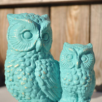 Shabby Chic Aqua Owls  Rustic Elegance Decor for by VintageJulz