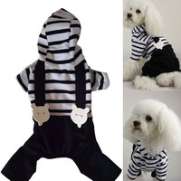 Hot Pet Dog Cats Hoodie Striped Black Pant Jumpsuit Puppy Clothes Apparels S-XXL