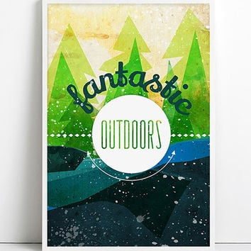 OUTDOORS Wild Forest Art Adventure awaits Poster Nature Landscape Journey Travel Print Explore Inspirational Relaxing Camping Print Green