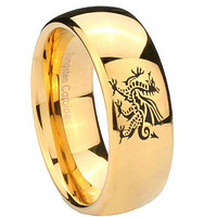 8mm Dragon Dome Gold Tungsten Carbide Mens Promise Ring