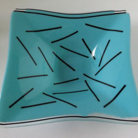 Fused Glass Bowl, Serving Dish, Square Bowl, Pick Up Sticks, Statteam
