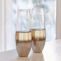 Metallic Ombre Stemless Flute Glass - Set Of 2 | Urban Outfitters
