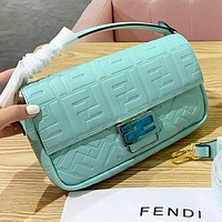 Fendi Fashion New More Letter Leather Shoulder Bag Women Crossbody Bag Mint Green