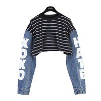 Stripe Denim Crop Top by Stylenanda