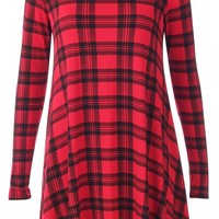 Summaya Clothing Women's Tartan Print Long Sleeve Oversized Swing Mini Skater Dress S/M Red Black Check