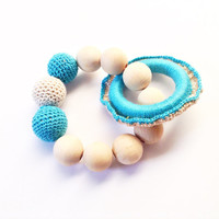 Crochet teething toy, Baby gift for a boy