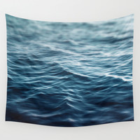 Dark Waters - Wall Tapestry, Dark Blue Ocean Water Hanging Decor, Bohemian Beach Surf Chic Style Home Accent. 51x60 / 68x80 / 88x104 Inches