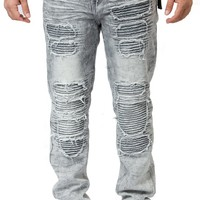 Black Ice Slim Fit Biker Jeans