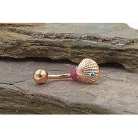 Sea Shell of Red Rose Gold Daith Rook Earring