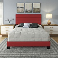 Faux Leather Headboard Platform Bed Frame