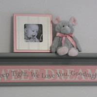"""Pink Gray Baby Nursery Room Decor 30"""" Grey Wall Shelf with Kids Name SWEET DREAMS - Quote Sign - Sleep Tight, We Love You, Goodnight"""