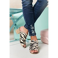 Cross Roads Zebra Print Heeled Sandals (Zebra)