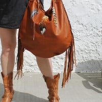 Fringe fringed feathers suede bag boho cognac brown hobo bohemian festival leather large bag oversized  hippie tote handmade rusted leather