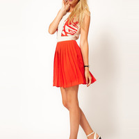 Oasis Embroidered Pleat Dress at asos.com