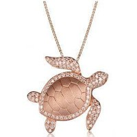Sterling Silver Rose Gold Plated Alamea Hawaii Pave CZ Turtle Pendant