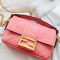 Fendi Fashion New More Letter Leather Chain Shoulder Bag Crossbody Bag Pink