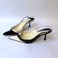 Vintage designer Michel Perry cream and black sling backs with kitten heels sz 36