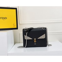 FENDI WOMEN'S LEATHER KAN I INCLINED CHAIN SHOULDER BAG