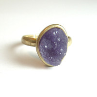 Amethyst Geode Agate Druzy Raw Natural Stone by BlueTwinSpur