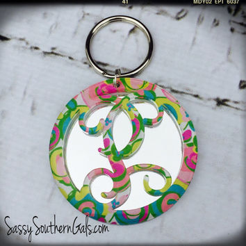 Acrylic Monogrammed Keychain Lilly Pulizter Inspired, Layered Monogrammed Key Chain, Monogrammed Keychain, Lilly Pulitzer Monogram Key Chain