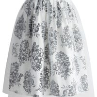 Peony Bouquet Pleated Midi Skirt  Multi