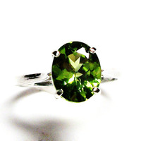"Peridot, peridot ring, August birthstone, solitaire ring, green ring, green,   s 6 3/4   ""Jelly Bean Green"""