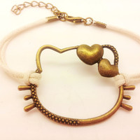 bronze hello kitty bracelet white wax cord rope bracelet  charm cute bracelet personalized bangle friendship gift   F1486