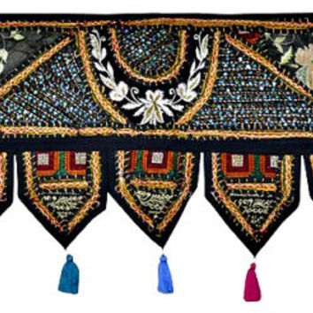 """38x14"""" Decorative window valance door curtain wndow curtain topper home decor valance vintage runner Indian patchwork tapestry wall hanging"""