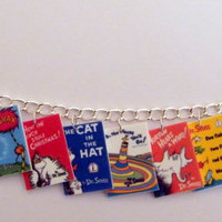 Dr. Seuss Book Cover Charm Bracelet Cat in the Hat, The Grinch, Happy Birthday Story Teacher Charms