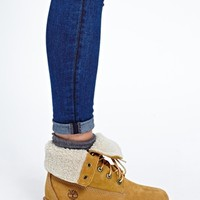 Timberland Authentics Teddy Fleece Fold Down Lace Up Boot