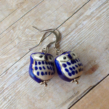 Blue & White Porcelain Owl Earrings, Silver Hook