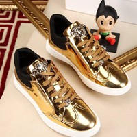 Versace Men's Gloss Leather Fashion Low Top Sneakers Shoes
