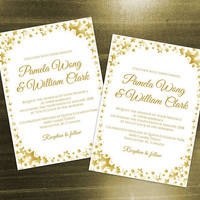 DIY Printable Wedding Invitation Card Template | Editable MS Word file | 5 x 7 | Instant Download | Gold Star