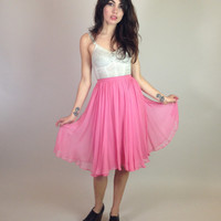 50s/60s PINK CHIFON SKIRT - knee length - Aline - pleated - high waisted - Saks Fifth Avenue - small