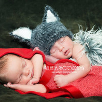 2 baby boy/girl twin knitted red riding hood and wolf hats, newborn photography prop, red pixie hat, wolf beanie