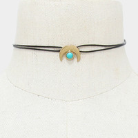 Turquoise Double Horn Faux Leather Choker Necklace - Gold
