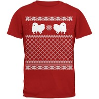 Pomeranian Ugly Christmas Sweater Red Adult T-Shirt