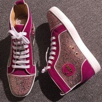 DCCK2 Cl Christian Louboutin Rhinestone Style #1966 Sneakers Fashion Shoes