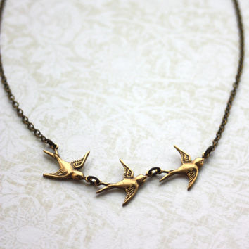 Three Tiny Brass Flying Swallow Bird Pearl Necklace. Mother Daughters. 3 Sisters. Best Friends. Seniors Graduation. A Family of 3. New Baby.